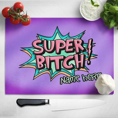 Personalised Chopping Board BITCH Funny Glass Kitchen Home Birthday Gift SH249