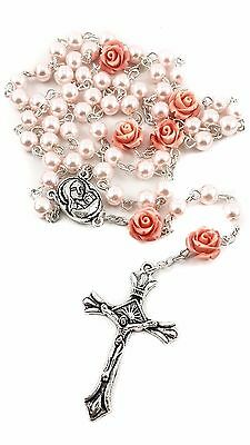 """Catholic Pink Pearl Beads Rosary Our Rose Necklace Holy Soil Medal Cross 19"""""""
