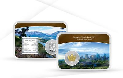 Canada 2017 $5 Maple Leaf Gold Plated Edition 1oz Silver Proof Coin 1000 Mintage