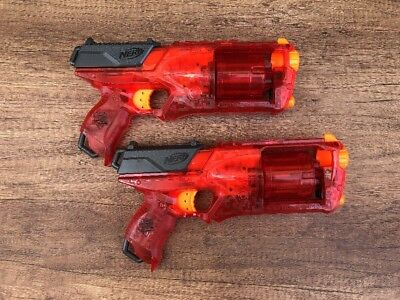 Two X2 Nerf Strong Arm Strongarm Hand Guns - Nerf Pistol Bundle Clear Red Ltd