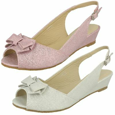 Girls Spot On Buckled Slingback Peep Toe Low Wedge Glitter Party Sandals H1R063