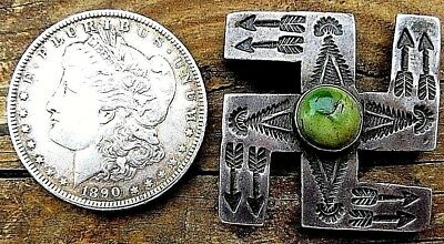 Large Whirling Log C.1910 Ingot Coin Silver Concho/slide Early Harvey Rarity