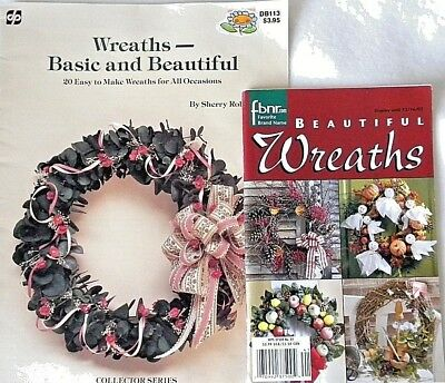 2 Craft Books, Make your Own Floral Wreaths - 38 Designs