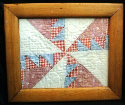 Vintage Antique Framed Quilt Square Pinwheel Design Oak Frame