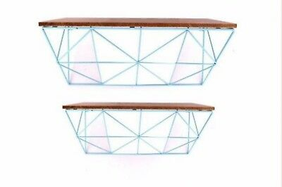 2x mid century vintage retro 1960's 60's 1970's 70s style teal wood wall shelves