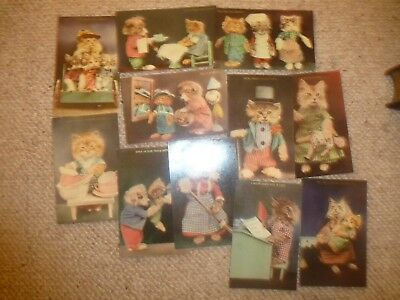 Collection Eleven Token Kitten & Puppy Series Comic Louis Wain Style Postcards
