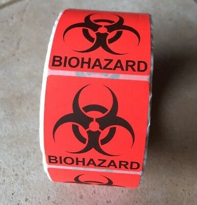 """500 Labels D.O.T. Bright Red 2"""" x 2"""" BIOHAZARD Shipping Warning Stickers Roll"""