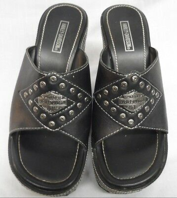 f2cac82f00fc HARLEY DAVIDSON MOTORCYCLES Black Leather Wedge Sandals Size 6M ...