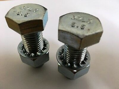 PAIR Tow Bar / Tow Ball Bolts 55mm Long C/w Nuts & Washers 8.8 HIGH TENSILE
