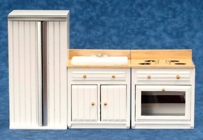 Dollhouse Miniature Appliance Set, 3 pc, White w/Oak Finish #T5321