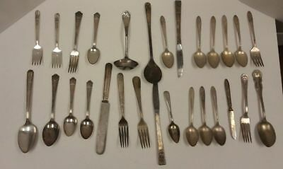 Huge Mixed Lot of Silverplate Flatware for Crafts Jewelry Scrap and Use