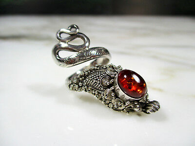 Vintage Chinese Granulated Sterling Silver Baltic Amber Dragon Snake Ring Size 5