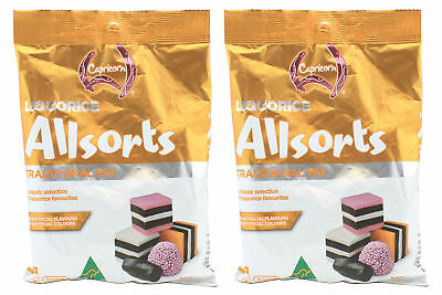 2 x CAPRICORN LIQUORICE ALLSORTS TRADITIONAL MIX CONFECTIONERY LOLLY SNACK 200g