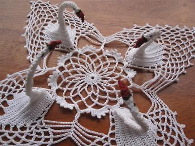 Creative/Unusual Vintage Hand Crocheted Swans for Collectors NEVER USED Doiley