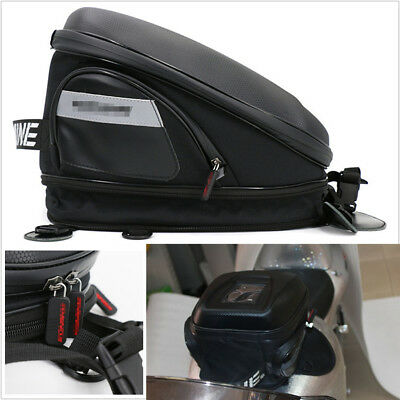 Stylish Carbon Fiber Look Motorcycle Tank Bag Riding Bag Luggage Extensible Bag