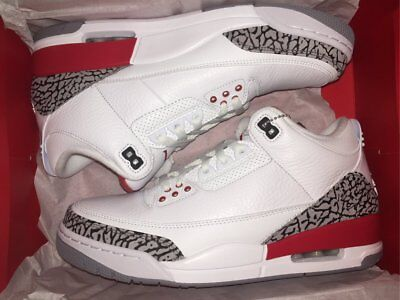 the latest 68423 a3006 2018 Air Jordan Retro 3 Katrina White Black Fire Red 136064-116 Size 4-