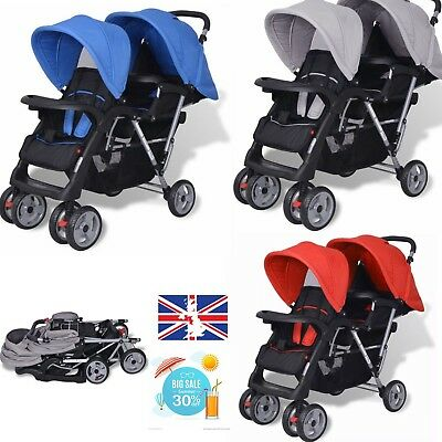 New Tandem Pushchair  Stroller Steel Double Baby Buggy Twin Pram Infant Toddler