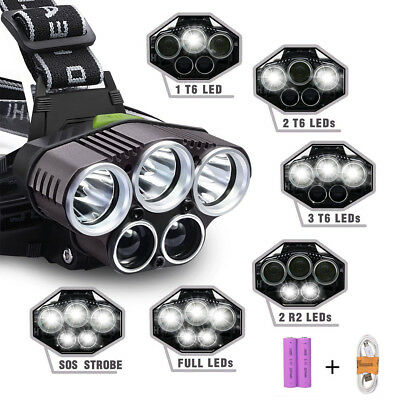 80000LM Cree XM-L 5 X T6 LED USB Rechargeable lampe frontale Headlight torche