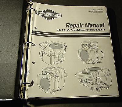 """Briggs & Stratton  4 Cycle Twin Cylinder """"l"""" Head  Engines Service Manual"""