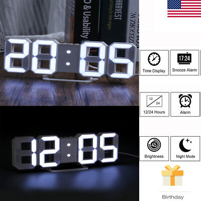 Alarm Clock Snooze 3D Large Digital LED Display USB Charge 3 levels Brightness