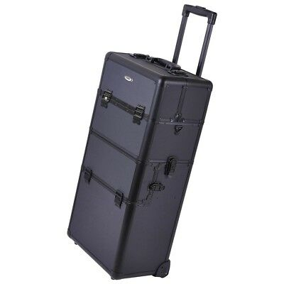 AW®  2in1 Rolling Aluminum Makeup Artist Cosmetic Train Case Box Black