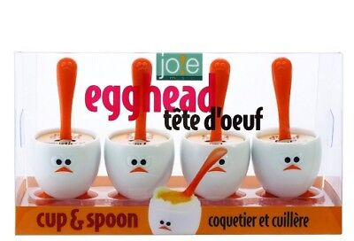 Joie 8 Piece Egghead Egg Cup and Spoon Set for Hardboiled Eggs