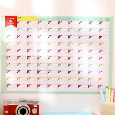 1PCS Plan Paper 100 Days Countdown Schedule Wall Calendars Daily Planner Goal