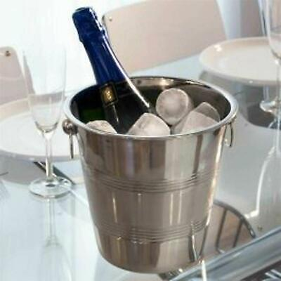 4 L Stainless Steel Ice Bucket Wine Champagne Cooler Mirror Finish Ribbed Rings