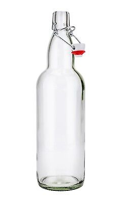 SafePro GB32, 1L / 33.8-ounce Clear Glass Oil Water Bottle with Stopper, 1-Piece
