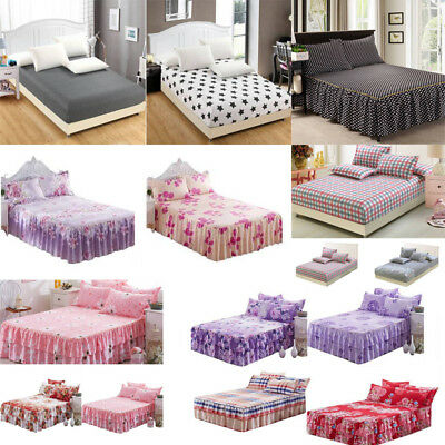 Polyester QUEEN Bedspread Bed Skirt Cover/Pillowcases Base Valance Sheet  Decor