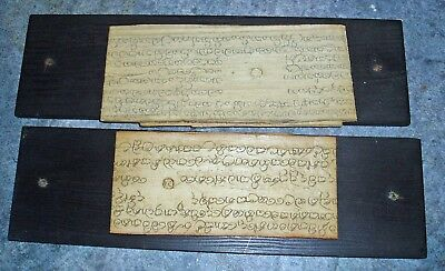 19Th Century Tibetian Buddist 2 X Prayer Sheets On Parchment