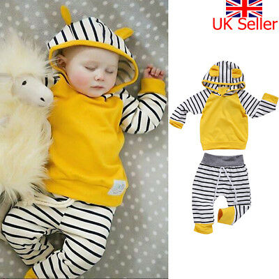 UK Newborn Baby Boys Girls Hoodie T-shirt Tops+Pants Outfits Toddler Clothes Set