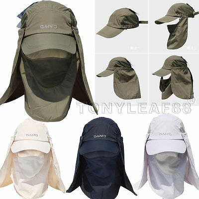 SANTO Mens UPF 50 Legionnaire Face Neck Flap Fishing Sun Protection Baseball Cap
