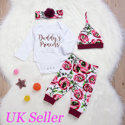 Baby Girls Daddy's Princess Clothes Outfits Romper Tops Pants Hat Headband Sets