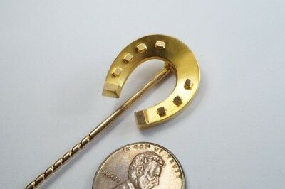 ANTIQUE LATE VICTORIAN ENGLISH 15K GOLD HORSE SHOE STICKPIN c1890