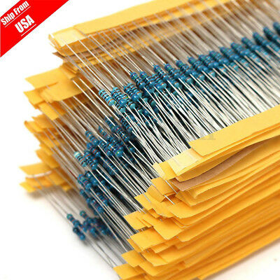 2600Pcs 130 Values 1/4W 0.25W Metal Film Resistors Resistance Assortment Kit Set