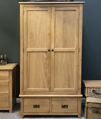 Oak Double Wardrobe / Solid Wood 2 Door Wardrobe with Drawers / Bedroom Grange