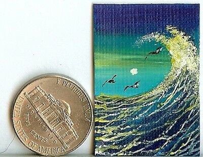 Original 1 x 1.5 Inch Seagulls Seascape Waves Sea Spray miniature Art HYMES