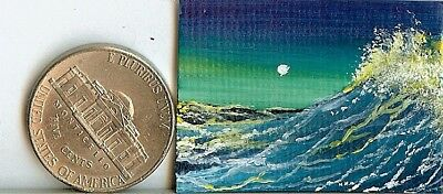 Original 1 x 1.5 Inch Ocean Seascape Waves Sea Spray miniature Art HYMES