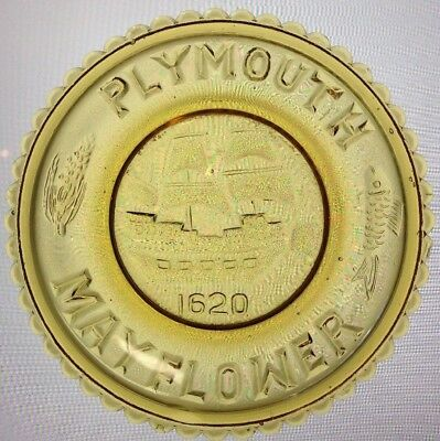 Plymouth Mayflower 1620 Mosser Glass Cup Plate 19 1973 Gold Cambridge Ohio Rare