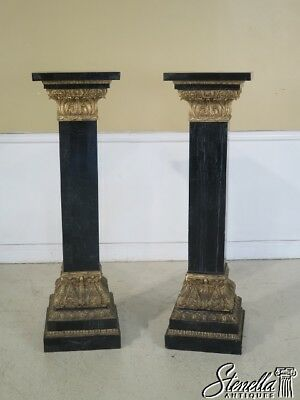 29119E: Pair Monumental Marble & Gilt Wood Carved Pedestals