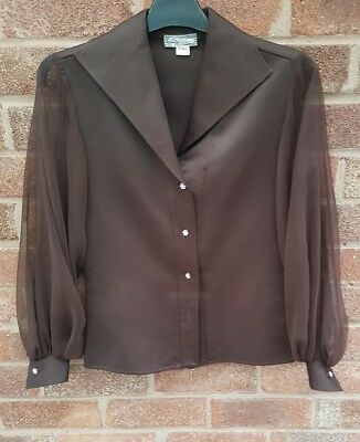 Original unique 50s evening blouse sheer sleeves wide collar Grace Kelly style12