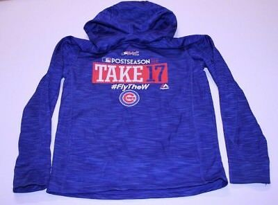 0763e1b9898c CHICAGO CUBS YOUTH Hoodie Sweatshirt New Majestic Authentic World ...