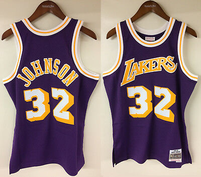 Magic Johnson Los Angeles Lakers LA Mitchell   Ness NBA Authentic 1984-85  Jersey fb1b77f6e