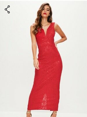 afd07ed92f52 NEW ❤ MISSGUIDED Size 8 Red V-Neck Plunge Lace Maxi Dress RRP £40 ...