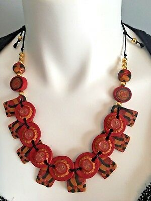 Vintage Hand Crafted Artisan Chunky Clay Red And Black Necklace Fast Shipping