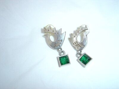 Wright And Teague Earrings Drop Stud Green Stone