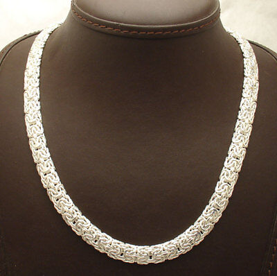 """18"""" Bold Shiny Mirrored Domed Byzantine Necklace Chain Real 925 Sterling Silver"""