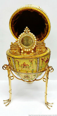 Tatiana Faberge Large Signed Egg Interior Palace Easel On Stand No Reserve