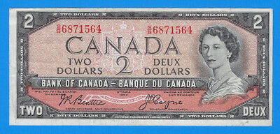 1954 Bank of Canada Queen Elizabeth $2 Two Deux Dollar Note BC-38a XF